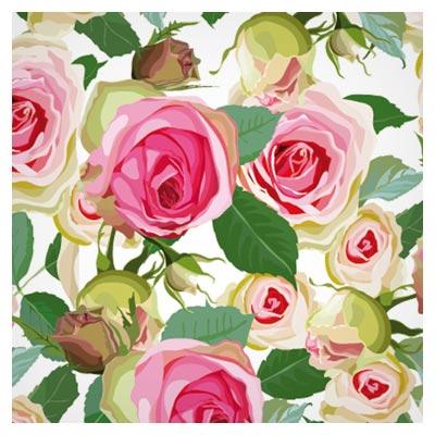پترن لایه باز وکتوری با طرح گل های رز (Seamless pink roses vector pattern)