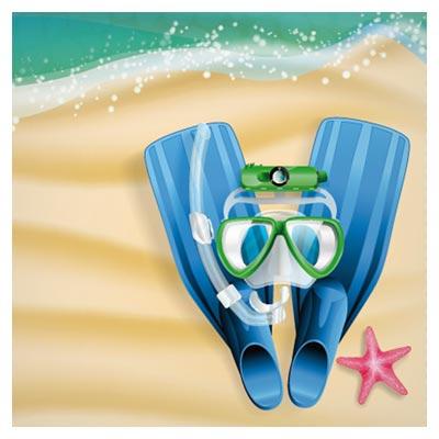 وکتور لوازم قواصی (بنر تابستانی و شنا در دریا)(Summer beach background vintage free vector download)