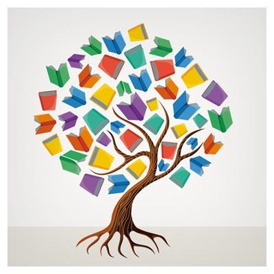 فایل وکتور خلاقانه درخت کتاب (درخت علم)(Clip Art of Education tree book concept)
