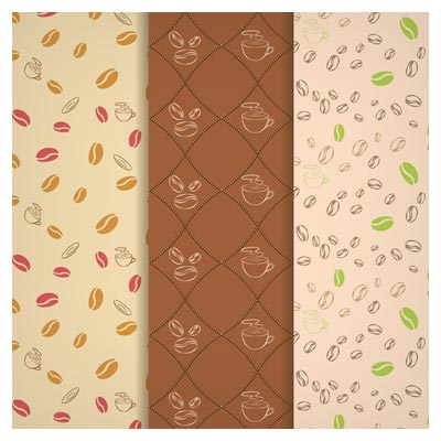 پترن و بکگراند لایه باز دانه های قهوه (Coffee pattern fruit free vector download)