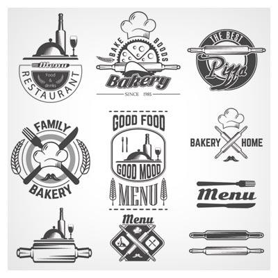 وکتور خطی مجموعه لوگو و سمبل پخت و پز و رستوران (Vintage bakery labels creative vector set)