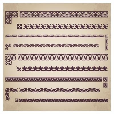 مجموعه حاشیه ، کادر و گوشه وکتور لایه باز (Retro border decoration element vector)