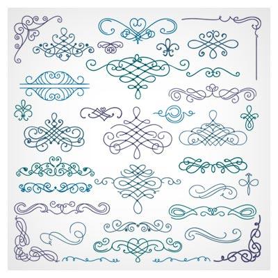 مجموعه وکتور خطی رسم شده با دست گوشه ، فریم و عنوان (Vintage Hand Drawn Swirls Ornaments with corner vector)
