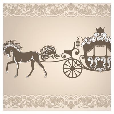 وکتور کالسکه و اسب عروسی مناسب برای طراحی کارت عروسی (vintage invitation cards background vector)