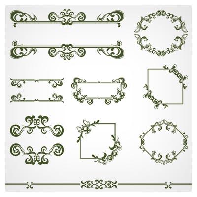 وکتور مجموعه کادر تذهیبی (Vintage lace vector Borders)