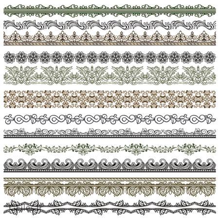 وکتور مجموعه نقوش زیبای سنتی از کنگره و حاشیه (vintage Pattern vector borders)