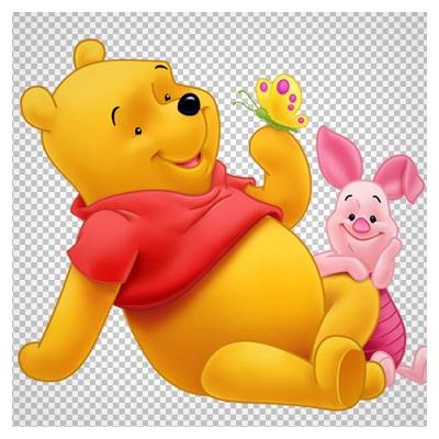 تصویر دوربری شده کاراکتر Pooh (خرس کوچولوی کارتونی)