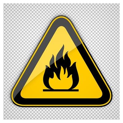 تابلوی هشدار دهنده روشن کردن آتش ممنون (خطر آتش سوزی) بدون پس زمینه (png)