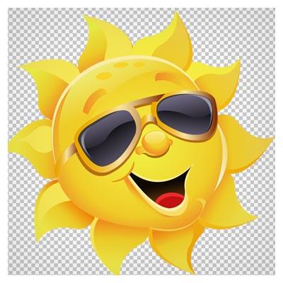 تصویر دوربری شده و کلیپ آرت خورشید با عینک آفتاب (Sun With Sunglasses Clipart)