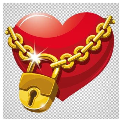 کلیپ آرت عاشقانه قلب و قفل (قفل عشق)(Locked Heart PNG Clipart)