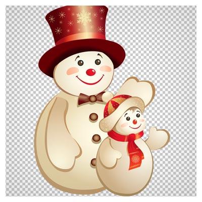 کاراکتر کارتونی آدم برفی و بچه با فرمت png (دوربری شده)(Merry Christmas and Happy New Year)