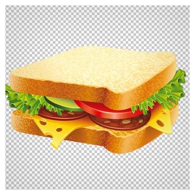 کلیپ آرت کارتونی ساندویچ با نان تست (دوربری شده ترانسپرنت)