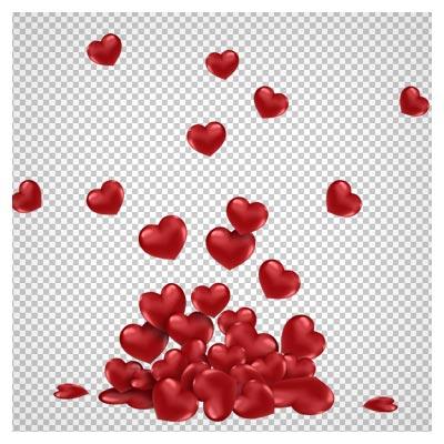 فایل دوربری شده (png) مجموعه قلب های قرمز