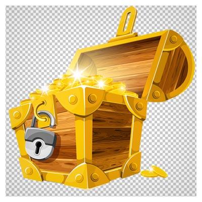 تصویر کارتونی صندوقچه گنج (صندوق طلا) با کیفیت بالا و فرمت png