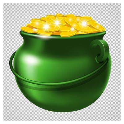 دانلود فایل png ظرف سفالی با سکه های طلا