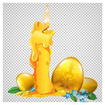 دانلود تصویر کارتونی شمع ، گل و تخم مرغ های طلایی