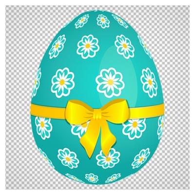 تصویر با کیفیت تخم مرغ رنگی با روبان زرد بصورت دوربری شده و فرمت png