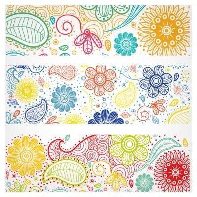 مجموعه سه بنر وکتور با طرح گلهای Floral (در هم پیچ) با فرمتهای ai و eps