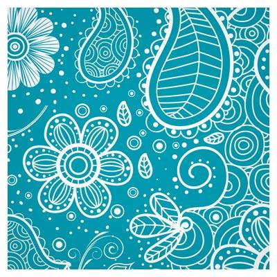 پس زمینه و پترن لایه باز (ai و eps) با طرح گلهای خطی فلورال و زمینه آبی (floral Pattern Vector)