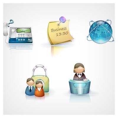 مجموعه آیکون های وکتوری سه بعدی با موضوع تجارت و بیزینس (Beautiful 3D Business Icons)