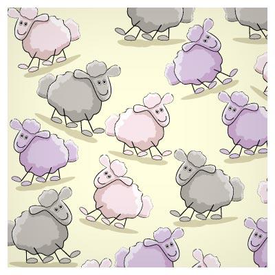 پترن لایه باز گوسفند با فرمت وکتور (پس زمینه با الگوی تکرار شونده)(Cute Cartoon Illustration vector)
