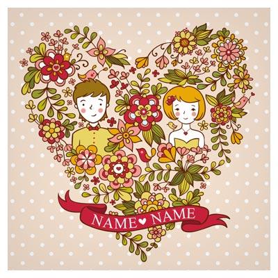 دانلود کارت وکتوری با طرح گل و بوته و زن و شوهر (کارت ازدواج)(Cute Playful Card Templates)
