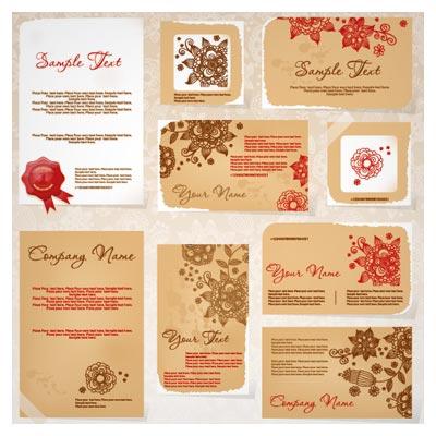 مجموعه کارت ویزیت با طرح کاغذی و گل و بوته بصورت لایه باز (Business Cards With Flowers)