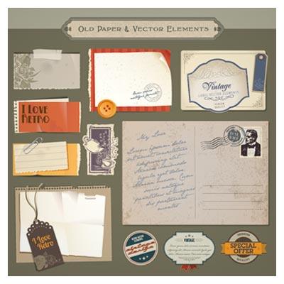 وکتور مجموعه المان های قدیمی شامل پاکت نامه و لیبلهای قدیمی با فرمت های ai و eps