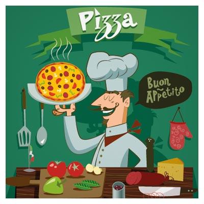 دانلود رایگان بنر کارتونی سرآشپز در حال پخت پیتزا ، ارائه شده با فرمتهای ai و eps