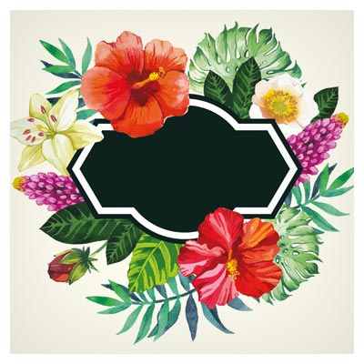 دانلود بنر و قاب هنری (لیبل) مجموعه گل های زیبا بصورت لایه باز (Garden Flower Frame Design art vector)