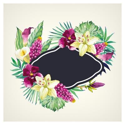 بنر و فریم لایه باز وکتوری با طرح گلهای زیبای آبرنگی ، با دو فرمت eps و ai