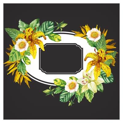 دانلود رایگان وکتور آماده فریم و بنر لایه باز هنری با طرح گل های آبرنگی زیبا (Garden flower frame design art vector)