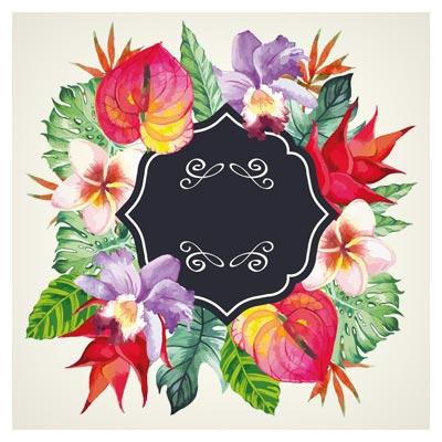 دانلود بنر و Frame لایه باز وکتور ، با طرح هنری گلهای زیبای آبرنگی (Garden Flower frame design art vector)