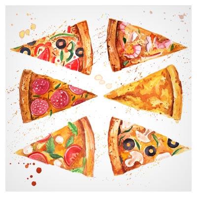 فایل وکتوری لایه باز مجموعه قاچ های مختلف پیتزا در حالات مختلف (Pizza Slice With Stains Background Vector)