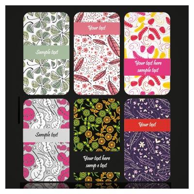 وکتور لایه باز مجموعه کارت های لایه باز با طرح های فلورال و گل دار (Set Of color Floral cards vector)