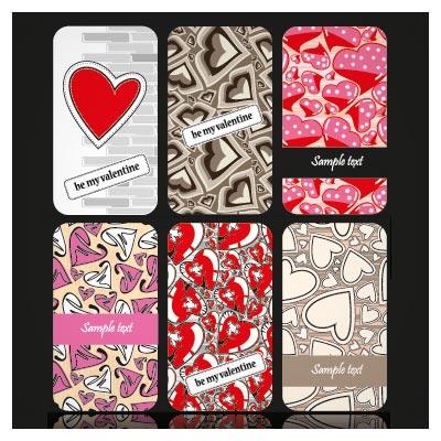 وکتور لایه باز مجموعه کارتهای لایه باز با طرح قلب مناسب برای روز ولنتاین (Set Of Valentine Heart shaped cards vector)