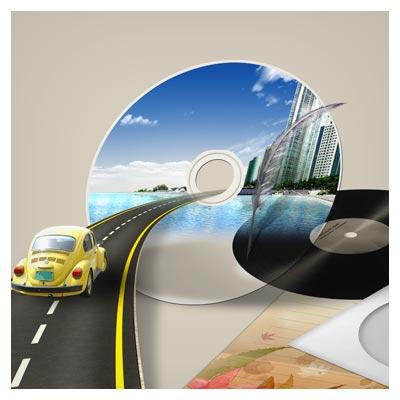 دانلود فایل PSD لایه باز با المان های متنوع CD ، جاده ، فولکس و ...