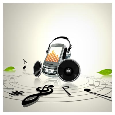 پوستر PSD با المان های لایه باز موسیقی (نت ، تلفن همراه) با کیفیت بالا