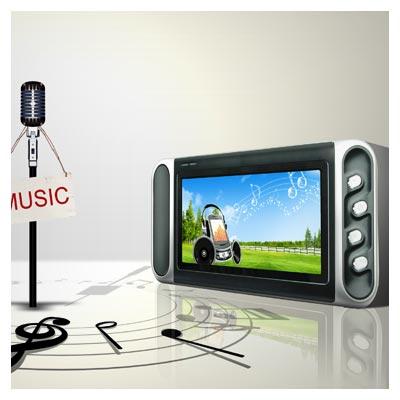 فایل و پوستر PSD با المان های موسیقی شامل میکروفن ، MP3 Player و ...