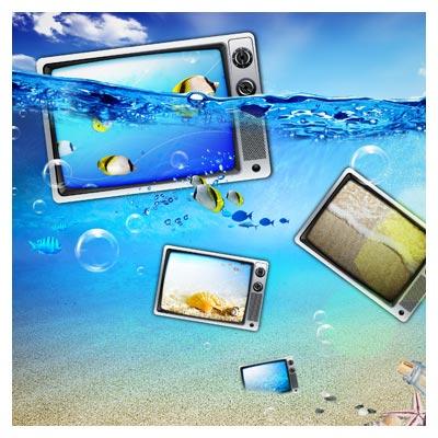 دانلود PSD لایه با موضوع اقیانوس و فناوری دیجیتال (رسانه)(Ocean digital technology PSD Free download)