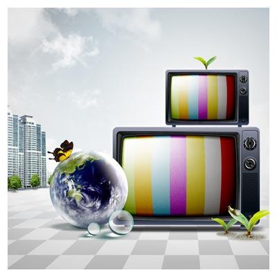 دانلود رایگان PSD با موضوع تلویزیون و رسانه با المان های لایه باز