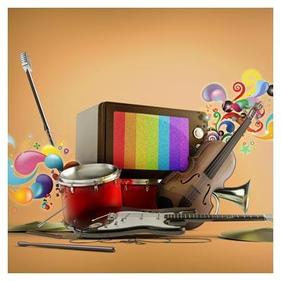 فایل psd رسانه (تلویزیون) و موسیقی با المان های لایه باز