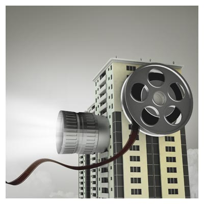 فایل لایه باز psd شهر سینمایی (دوربین و شهر) با کیفیت بالا