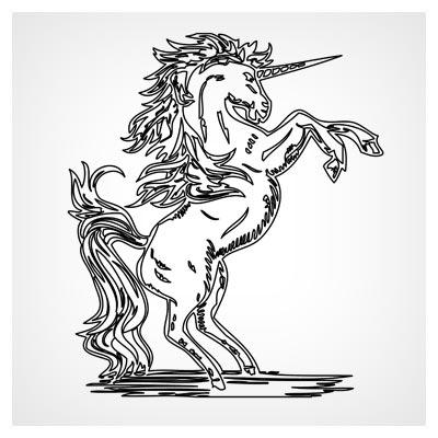 طرح خطی وکتوری لایه باز اسب شاخ دار مناسب برای برش لیزر و CNC