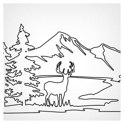 طرح وکتور منظره ، طبیعت (Landscape) جهت برش لیزر (لایه باز وکتور)