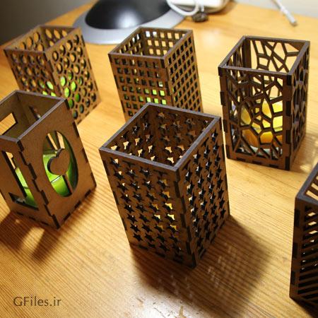 الگوی آماده جا شمعی با امکان ساخت بصورت واقعی (برش لیزر و cnc)