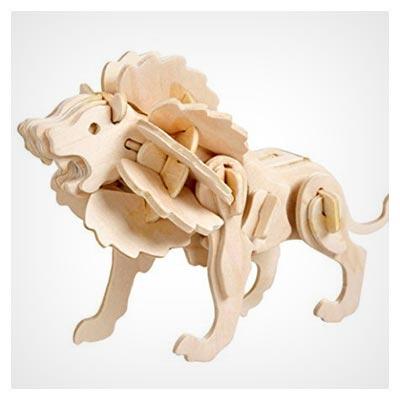 پازل سه بعدی شیر جنگلی با امکان برش توسط لیزر و سی ان سی