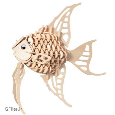 پازل رایگان سه بعدی ماهی با امکان ساخت توسط چوب یا MDF
