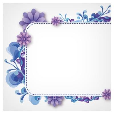 فریم و قاب لایه باز وکتور با طرح گلهای مینیاتوری بنفش (ai و eps)(Floral Frame Beautiful)