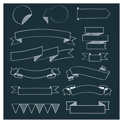 دانلود رایگان مجموعه ریبون های رسم شده با دست با پس زمینه سیاه (Doodle Ribbons In Many Shapes)